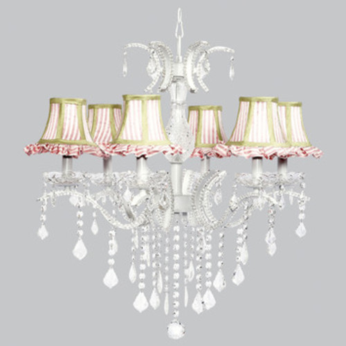 Jubilee Collection 77102-2426 Glitz Six-Light Chandelier with Pink ... [6 light]