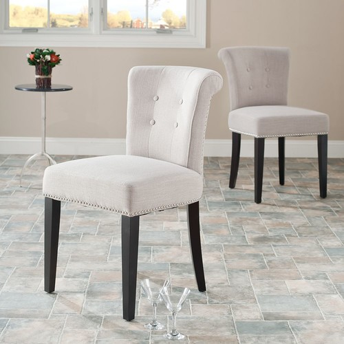 Safavieh MCR4704A-SET2 Beige Sinclaire KD Side Chairs MCR4704