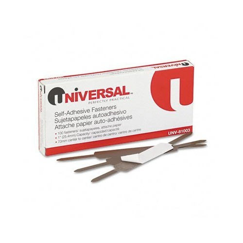 Universal Self-Adhesive Paper and File Fasteners, One Inch Capacity, 100/Box