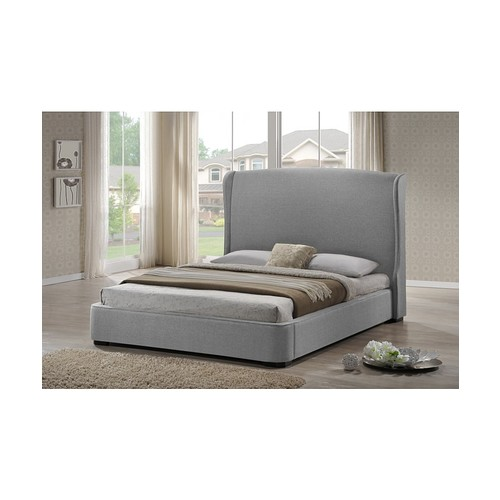 Sheila Gray Linen Modern Bed with Upholstered Headboard - Full Size