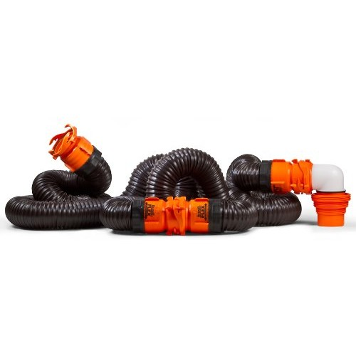 Camco RhinoFLEX 20ft RV Sewer Hose Kit, Includes Swivel Fitting and Translucent Elbow with 4-In-1 Dump Station Fitting, Storage Caps Included, Frustration-Free Packaging [Frustration-Free Packaging, 20ft Sewer Hose Kit]