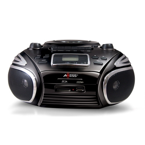 Axess 97091179M Portable AM/FM Radio, CD/MP3 Player, USB/SD & Cassette Recorder Boombox