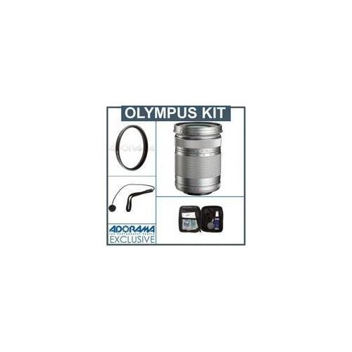 Olympus M.zuiko Digital ED 40-150mm f/4.0-5.6 R Camera Lens - Silver - Bundle - with Pro Optic 58mm MC UV Filter, Lens Cap Leash, Professional Lens Cleaning Kit