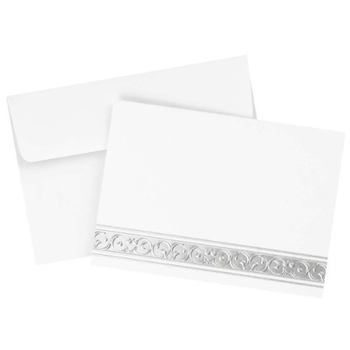 Hortense B. Hewitt 50 Count Silver Filigree Foil Note Cards and Envelopes