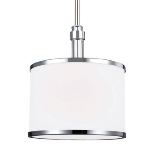 Feiss Prospect Park 1-Light Satin Nickel/Chrome Pendant