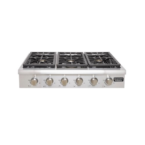 Kucht Professional 36 in. Propane Gas Range Top with 6 Sealed Burners in Stainless Steel