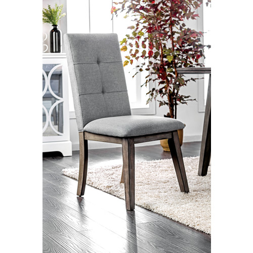 Furniture of America Olevia Mid-Century Modern Dining Chair, Walnut and Gray