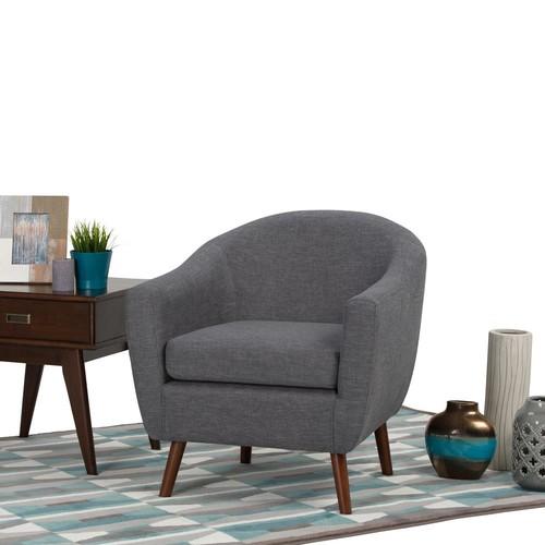 Simpli Home Roundstone Slate Grey Fabric Arm Chair