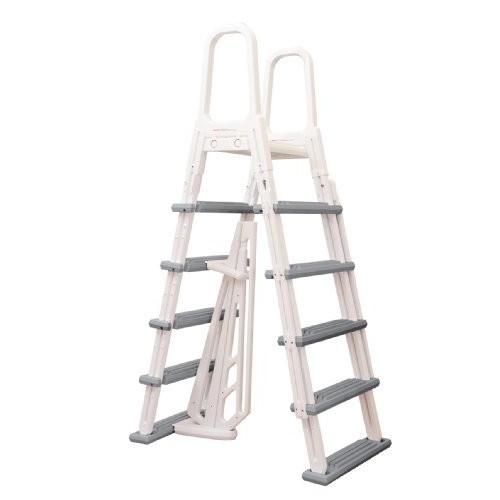 Blue Wave NE1202 Heavy Duty A-Frame Ladder for Above Ground Pools [White/Gray]