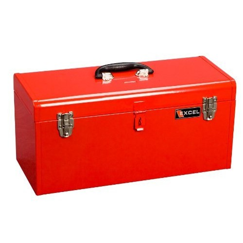 Excel TB140-Red Steel Tool Box with 1 Metal Tray, Red