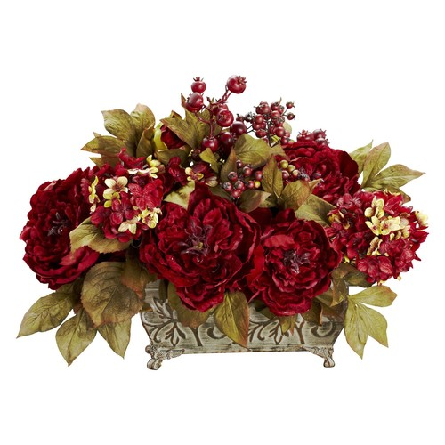 Nearly Natural 18 in. H Red Peony and Hydrangea Silk Flower Arrangement