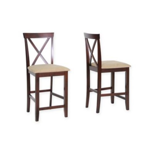 Baxton Studio Natalie Counter Stools in Cappuccino (Set of 2)