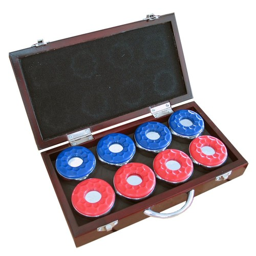 Hathaway Shuffleboard Pucks with Case - Set of 8