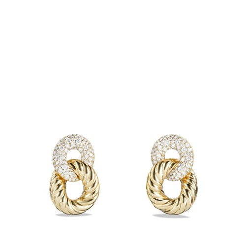 Belmont Curb Link Ring Drop Earrings with Diamonds in 18K G