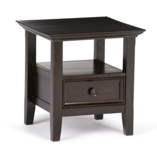 Simpli Home Amherst End Side Table in Dark Brown