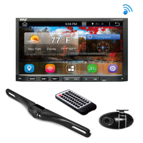 Pyle PLDNVR708 Stereo Receiver Headunit Radio Rearview Backup Camera and Dash Cam Driving System Kit with GPS Navigation