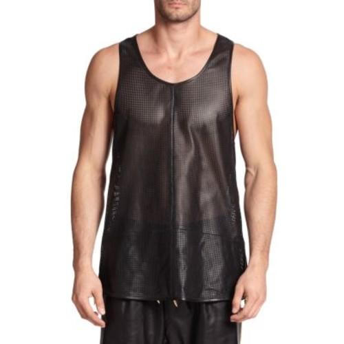 GIUSEPPE ZANOTTI Zippered Leather Tank Top