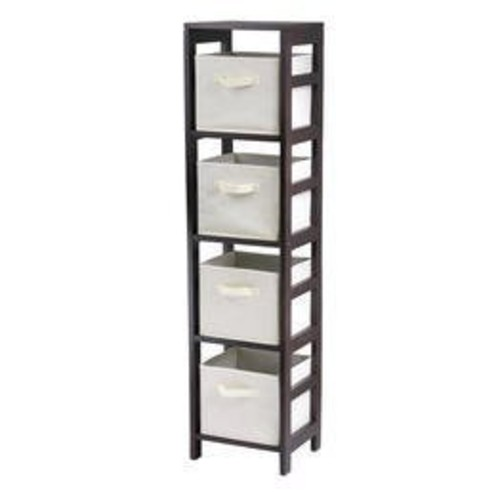 Winsome Wood Capri Wood 4 Section Storage Shelf with 4 Beige Fabric Foldable Baskets [Espresso, beige basket]
