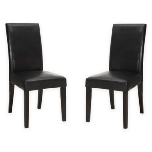 Luna Leather Side Chairs in Black (Set of 2)
