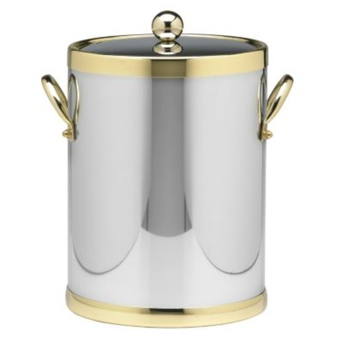 Kraftware Americano 5 Qt. Polished Chrome & Brass Ice Bucket with Brass Lid, Metal Side Handles