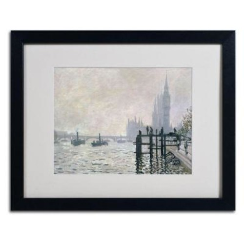 Trademark Fine Art 16 in. x 20 in. The Thames Below Westminster Matted Black Framed Wall Art