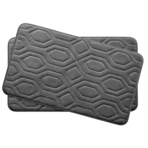 Bath Studio Turtle Shell Small 2 Piece Premium Micro Plush Memory Foam Bath Mat Set (Set of 2)