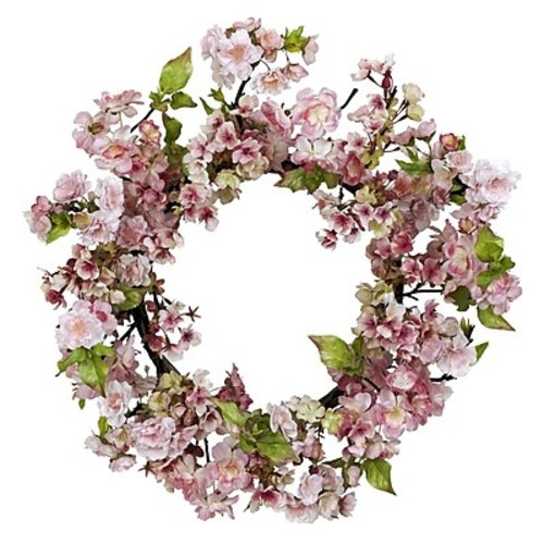 Nearly Natural 4783 Cherry Blossom Wreath Summer Decor, Pink