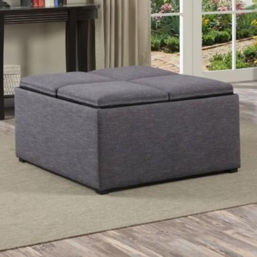 Simpli Home - Avalon Coffee Table Storage Ottoman - Slate Gray