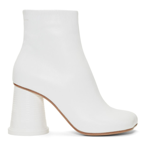 MM6 MAISON MARTIN MARGIELA White Cup Heel Ankle Boots