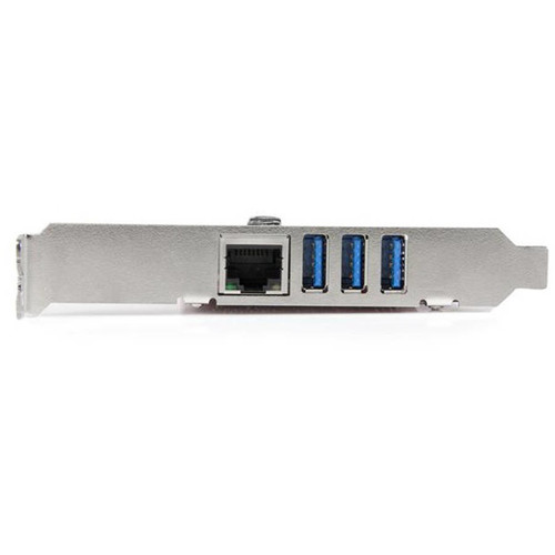 StarTech.com 3 Port PCI Express USB 3.0 Card + Gigabit Ethernet - Network / USB adapter - PCI Express 2.0 x1 low profile - USB 3.0 x 3 + 1000Base-T x 1 (PEXUSB3S3GE)