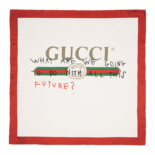 GUCCI White & Red Silk 'Future' Logo Scarf