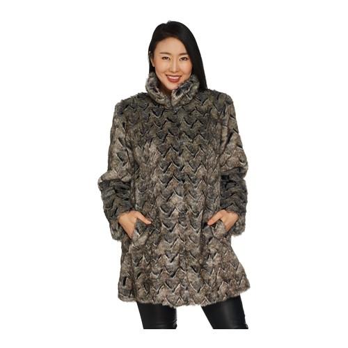 Dennis Basso Platinum Collection Basket Weave Faux Fur Coat