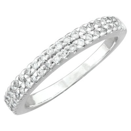 Silver Plated Cubic Zirconia Double Band Ring - Size 6