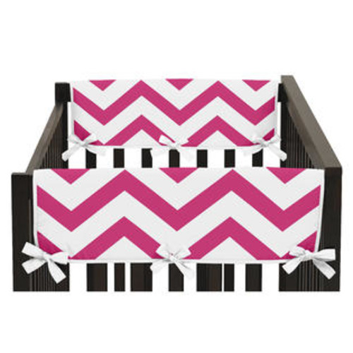 Sweet Jojo Designs Chevron Collection Pink and White Microfiber Side Crib Rail Guard Covers (Set of 2)