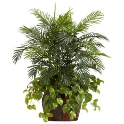 Nearly Natural 3.5 ft. Green Double Areca with Vase and Pothos Silk Plant