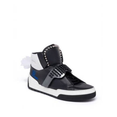 FENDI Karlito Studded High-Top Calf Leather Sneakers