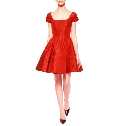 ZAC POSEN Flounce-Skirt Taffeta Dress