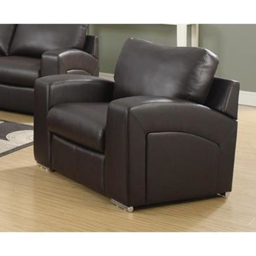 Monarch Specialties Dark Brown Bonded Leather Match Chair I 8501BR