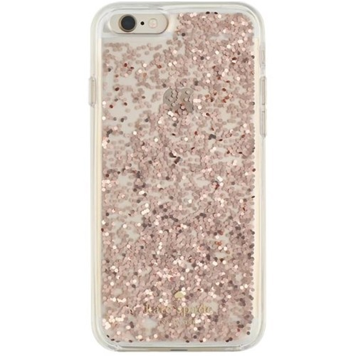 kate spade new york - Clear Glitter Case for Apple iPhone 6 and 6s - Rose gold glitter
