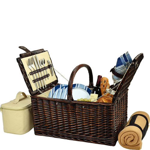 Picnic at Ascot Buckingham Willow Picnic Basket with Service for 4 with Blanket- Blue Stripe [Brown Wicker/Blue Stripe Plates/Napkins]