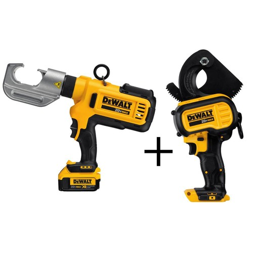 DEWALT 20-Volt MAX Lithium-Ion Cordless Cable Crimping Tool Kit with (2) Batteries 4Ah, Charger and Bonus Cable Cutting Tool