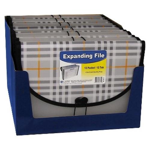 C-Line Expanding File, Plaid, Letter, 13 Pockets, 1.5\