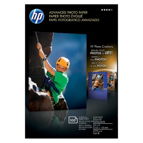 HP Photo Paper Advanced, Glossy, 4x6, 100 Sheets