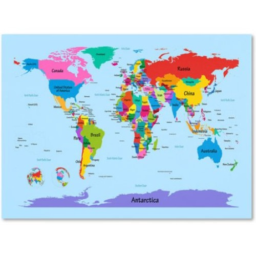 Childrens World Map by Michael Tompsett work, 14 by 19-Inch Canvas Wall Art [14 by 19-Inch]