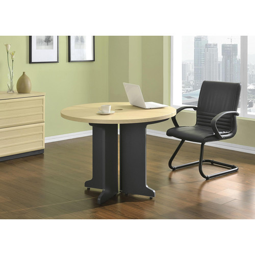 Dorel Pursuit Natural and Gray Round Office Table