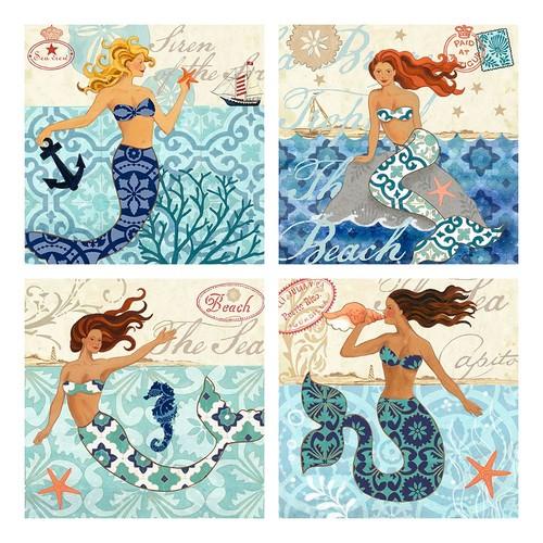 Mermaid Canvas Wall Art 4-piece Set