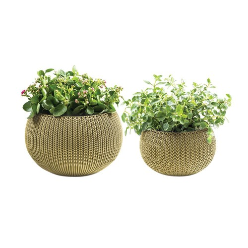 Keter Knit Cozie 11 in. and 14.2 in. Dia Citrus Green Small and Medium Planters (2-Piece Set)
