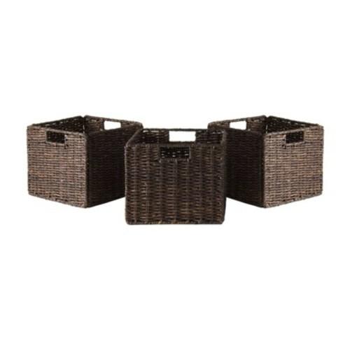 Granville Foldable 3-PC Small Corn Husk Baskets, Chocolate [3 small baskets]