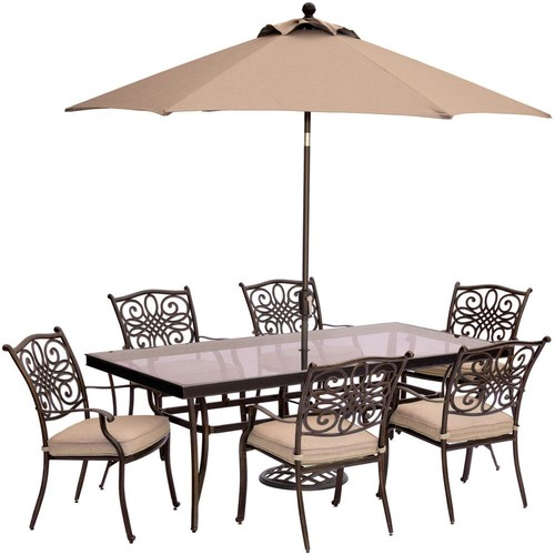 Hanover Traditions 7-Piece Aluminum Outdoor Dining Set with Rectangular Glass Table, Umbrella and Base with Natural Oat Cushions