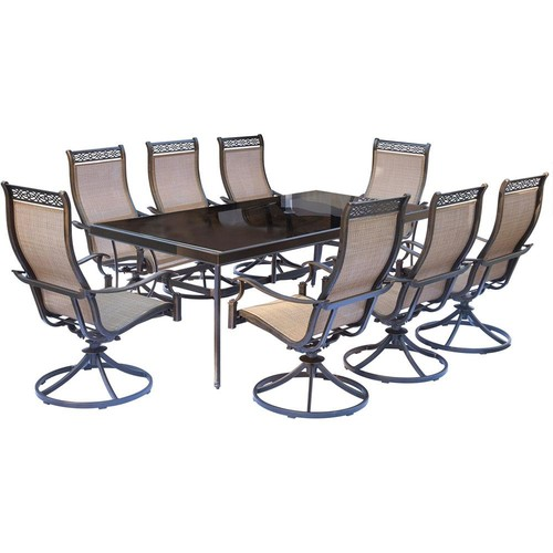 Hanover Monaco 9-Piece Aluminum Outdoor Dining Set with Rectangular Glass-Top Table and Contoured Sling Swivel Chairs